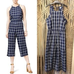 🆕 Maison Jules Window Pane Tie Neck Jumpsuit
